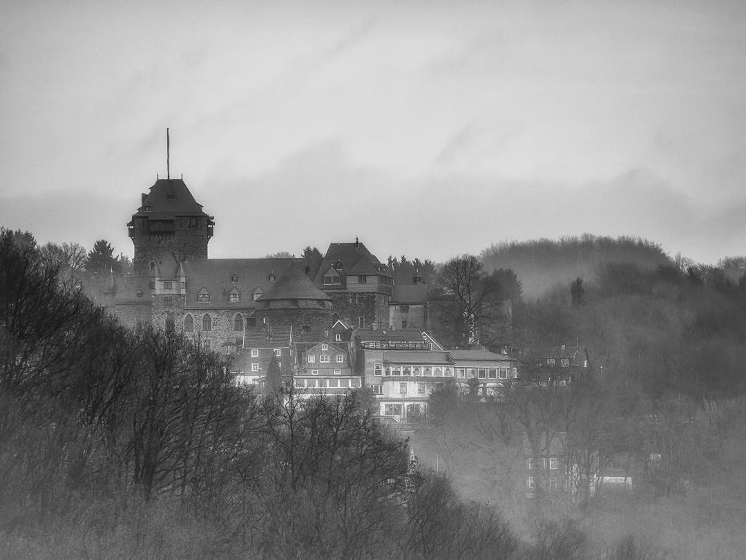 Schloss Burg im Nebel